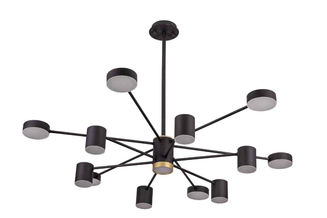 Living Room Simple Modern Wrought Iron Chandelier Creative Personality Nordic Bedroom Lamp Black 12 Lamp Head Lighting Fittings Garden Lights